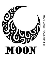 Stylized Crescent Moon - Crescent Moon with with tiny stars