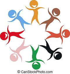 stylized, crianças, de, diferente, cores