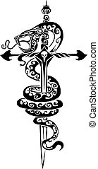 stylized dagger in the form of a cross and a stylized poisonous snake, black color, isolated object on a white background, logo, vector illustration,