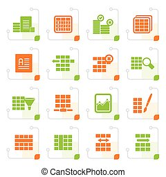 Stylized Database and Table Formatting Icons