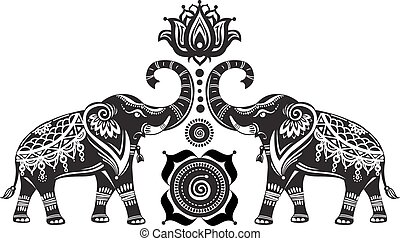 Stylized decorated elephants and lotus flower