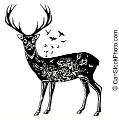 Stylized decorative deer vector ink hand drawn illustration