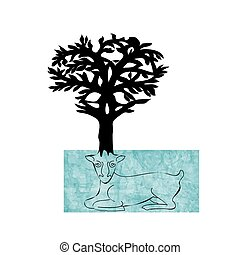 Stylized decorative image deer with horns of trees