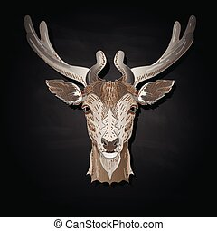 Stylized deer head vector illustration isolated on black background
