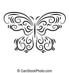 stylized, dekorativ, vacker, fjäril, ornamental
