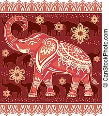 stylized, dekorerat, elefant