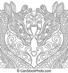 stylized, desenhado, encantador, mão, girafas