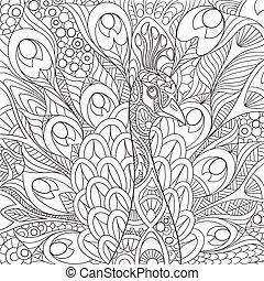 stylized, desenhado, mão, pavão