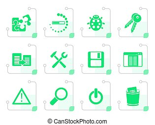 Stylized developer, programming and application icons