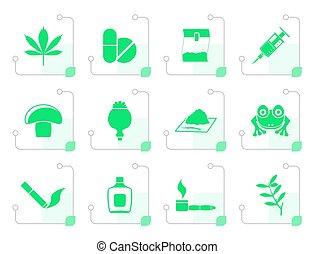 stylized, diferente, tipo, droga, ícones