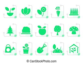 Stylized Different Plants and gardening Icons