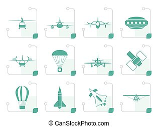Stylized different types of Aircraft Illustrations and icons