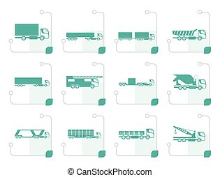 Stylized different types of trucks and lorries icons