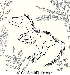 Stylized dinosaur of the middle to late Cretaceous period