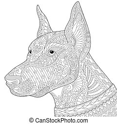 stylized, doberman pinscher, cão, zentangle