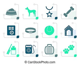 Stylized dog accessory and symbols icons