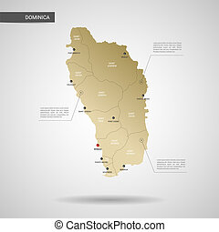 Stylized Dominica map vector illustration.