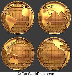 stylized, dourado, globo, de, terra, com, um, grade, de,...