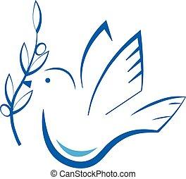 Stylized Dove - Stylized dove with olive branch. Eps10