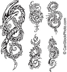 Stylized dragon knot tattoos. Set of black and white vector...