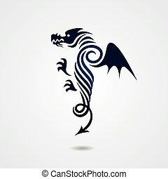 Stylized dragon on white background