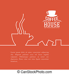 Stylized drawing of a coffee cup. - Stylized drawing of a...