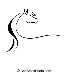 stylized drawing of a horse on a white background