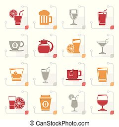 Stylized drinks and beverages icons