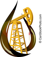 Stylized drop of fossil oil and the pump inside. Vector illustration.