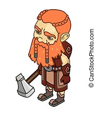 stylized dwarf with an ax on a whit