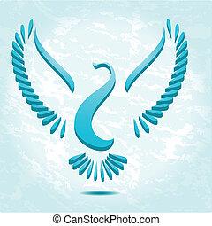 stylized, dykke, fugl, eller