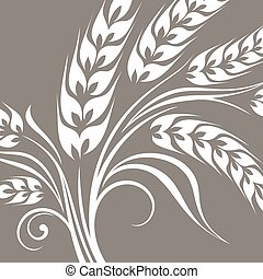 Stylized ears of wheat on grey
