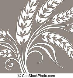 Stylized ears of wheat on grey