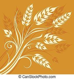 Stylized ears of wheat on yellow