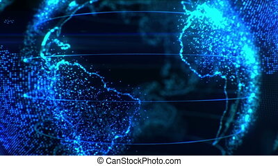 Stylized Earth in Pixels in Several Videos. World in Modern...
