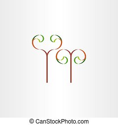 stylized eco plant with leaves icon sign
