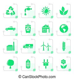 Stylized ecology and environment icons