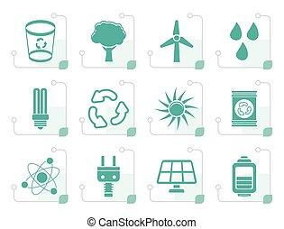 Stylized Ecology, energy and nature icons