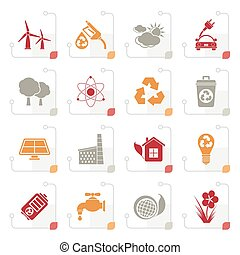 Stylized Ecology, environment and recycling icons