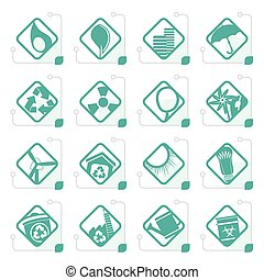 Stylized Ecology icons - Set for Web Applications - Vector
