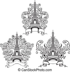 Stylized Eiffel Tower. Set of black and white vector...