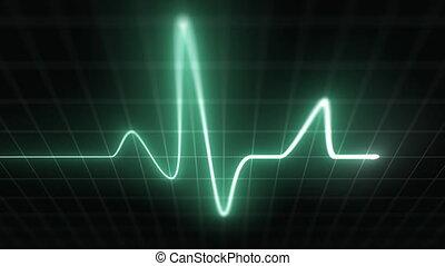 Stylized EKG Fast, Green - Heart rate monitor /...