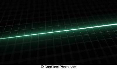Stylized EKG Flatline, Green - Close up on pixelated heart...