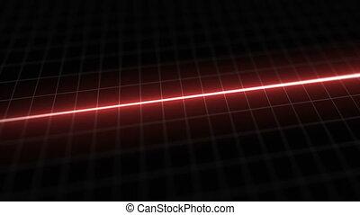 Stylized EKG Flatline, Red - Close up on pixelated heart...