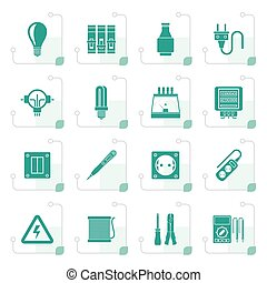 Stylized Electrical devices and equipment icons