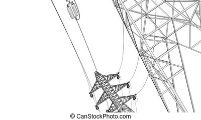 Stylized electrical power lines - Stylized detailed...