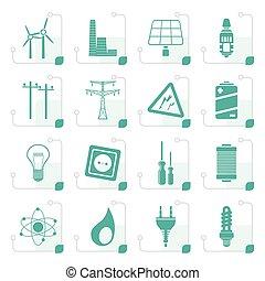 stylized, electricidade, poder energia, ícones