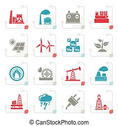 Stylized Electricity and Energy source icons