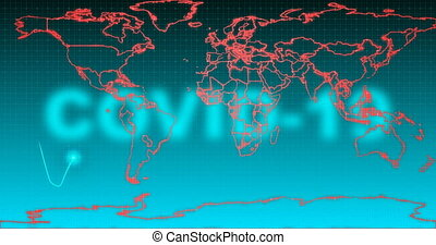 Stylized electrocardiogram on a background of a world map with the naming of the covid-19 virus, the concept of a global pandemic