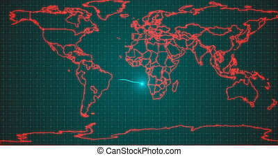 Stylized electrocardiogram on a background of a world map with the naming of the covid-19 virus, the concept of a global pandemic. alpha channnel